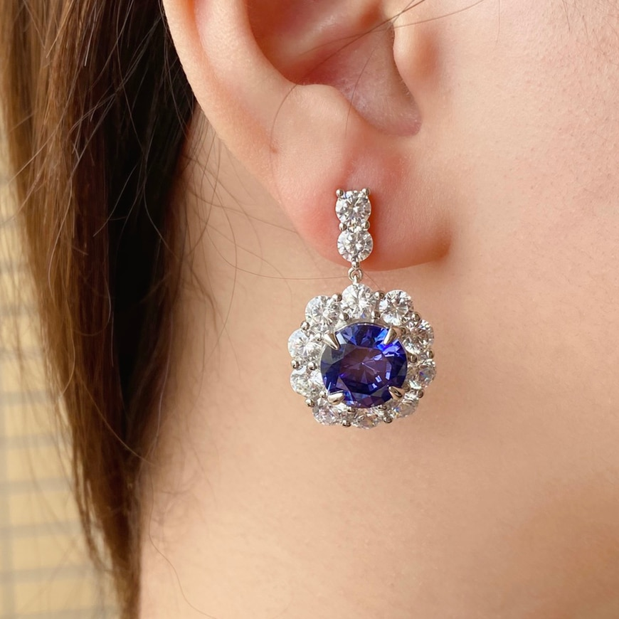 DIMINGKE 13*13MM Sapphire Silver Earrings 100%-S925 Super Flash Women's Jewelry Party Anniversary Birthday Gift