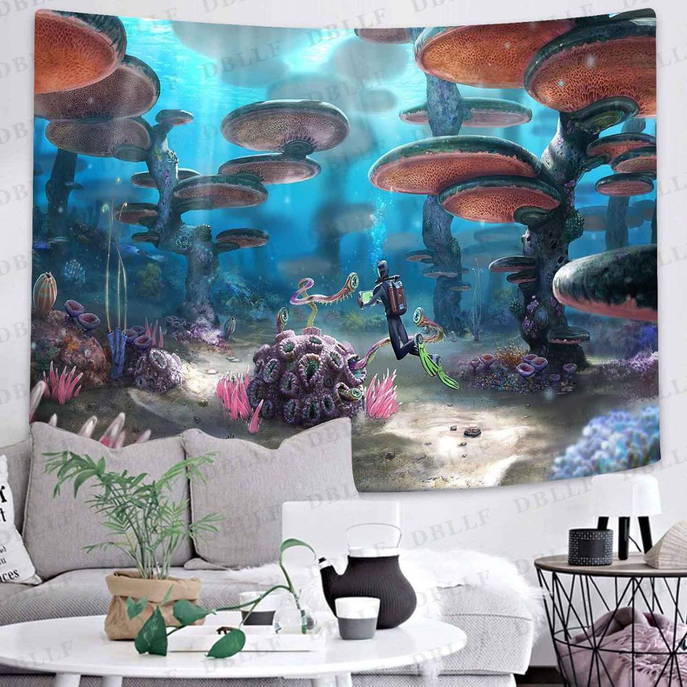Гобелен с изображением гриба мультфильм лес Trippy пейзаж Искусство настенные подвесные гобелены для гостиной для дома и общежития Декор
