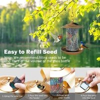 mangeoire pour les oiseaux solar birds feeder outdoor hanging tool with colorful glass mosaic decor waterproof garden lantern
