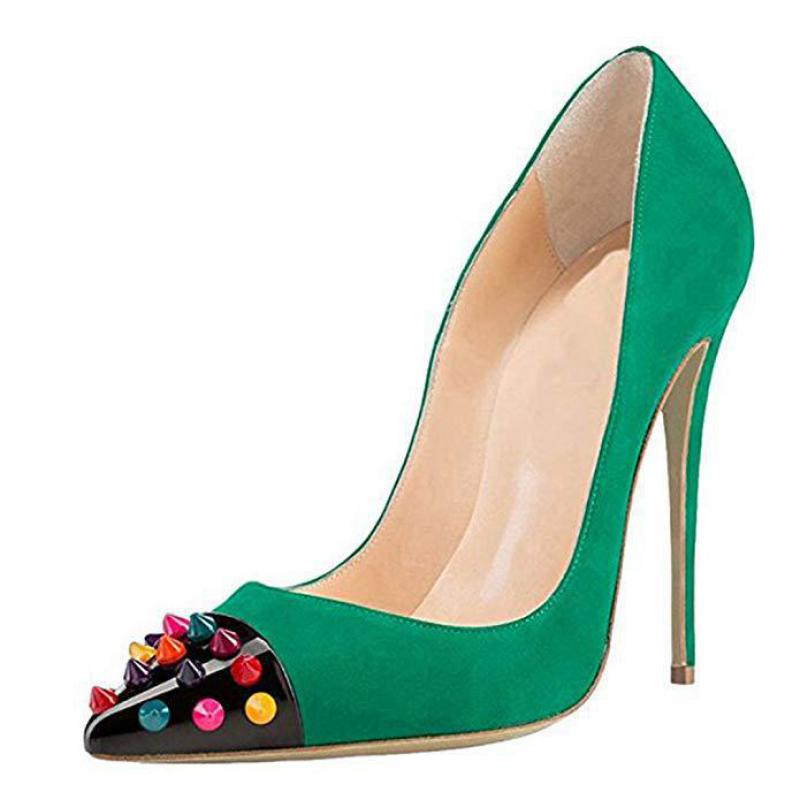Summer Women's Pumps Sexy High Heels Sandals Thin Heels Pointed Toe Party Rivet Mixed Colors Wedding Shoes Single Shoe Pumps