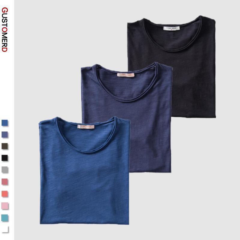 3PCS/SET 2020 Neue Sommer 100% Baumwolle Oansatz T-shirt Männer Soild 10 Farben Herren T-shirts Casual Kurzarm männlichen Tops Tees