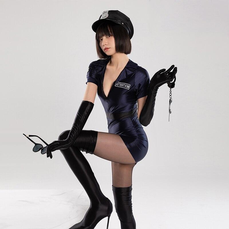 DROZENO Cosplay original American riot policewoman uniform 7-piece set Sexy tight-fitting slip-on ti