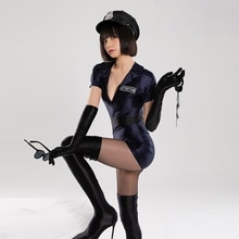 DROZENO Cosplay original American riot policewoman uniform 7-piece set Sexy tight-fitting slip-on ti