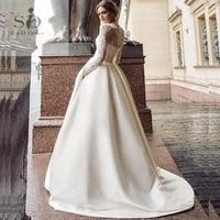 sodigne summer wedding dress 2021 long sleeves a line satin african wedding gown pockets lace appliques boho bride dresses