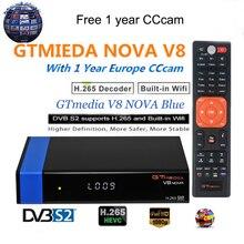 1080P HD DVB-S2 GTmedia V8 Nova Cccam Cline Satellite TV Receiver Built in WIFI power by Freesat V8 Super 3 Years Europe Cline