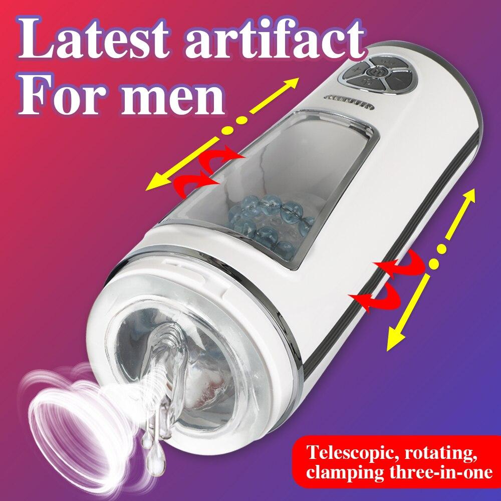 التلقائي الكامل Thrusting المكبس ذكر الاستمناء قابل للسحب صوت التفاعل الآلات الكهربائية اللسان مص الجنس لعب للرجال