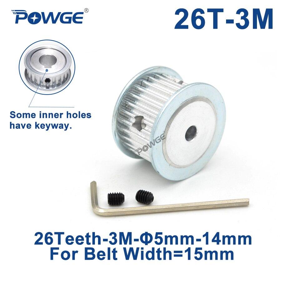 Polea De distribución POWGE HTD 3M diámetro de 26 dientes 5/6/8/10/12/12,7mm de ancho 15mm 3M correas síncronas HTD3M polea 26 T 26 dientes