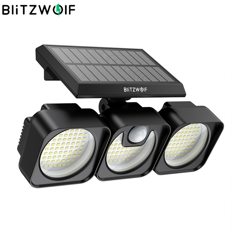 BlitzWolf BW-OLT7 7500K 218LED 3 رؤساء الطاقة الشمسية ضوء مصابيح IP64 إضاءات جدران ضد الماء PIR محس حركة إضاءة خارجية