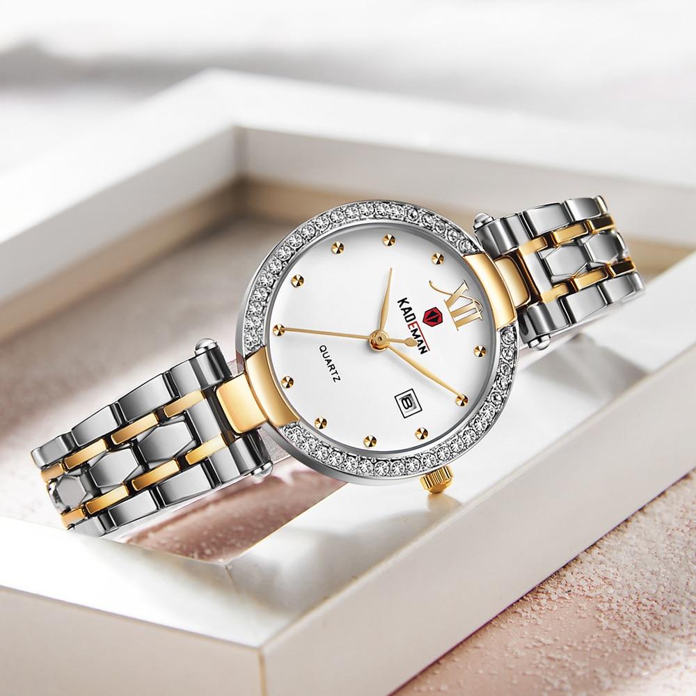 KADEMAN Top Luxury Womens Watch Full Stainless Steel Belt WristWatch Women New Quartz Fashion Auto Date Watches Crystal Dress enlarge