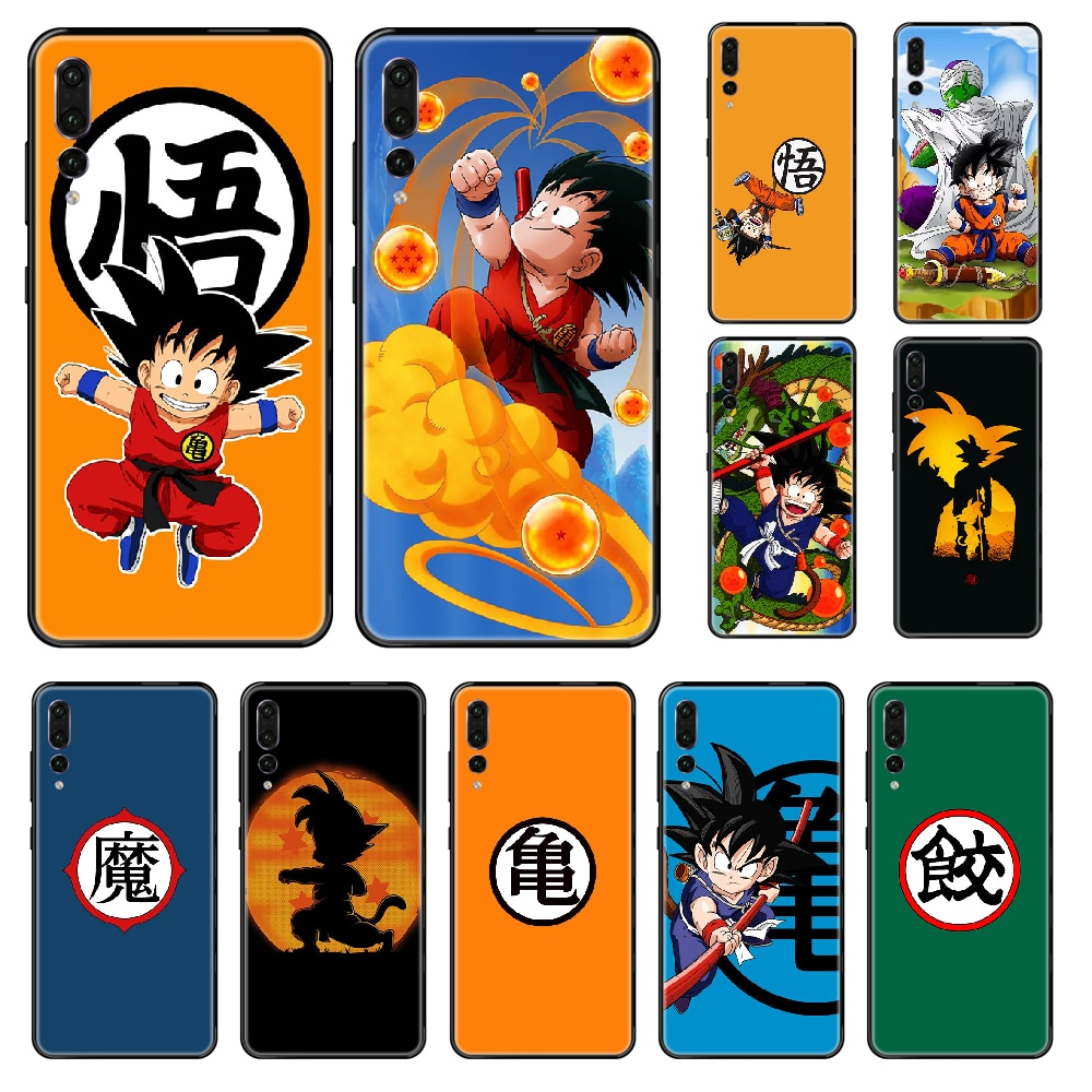 Funda de teléfono de Dragon Ball para Huawei P 8 10 20 30, inteligente Plus 2019 Z Lite Pro 2017 2019, negra, de tpu, con diseño bonito de Goku para niños