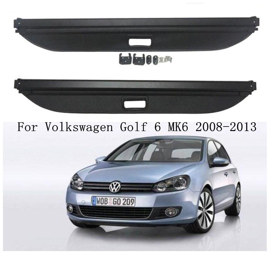 JINGHANG coche posterior del tronco de carga cubierta de seguridad de Shield de pantalla sombra encaja para Volkswagen Golf 6 MK6 2008, 2009, 2010, 2011 2012, 2013