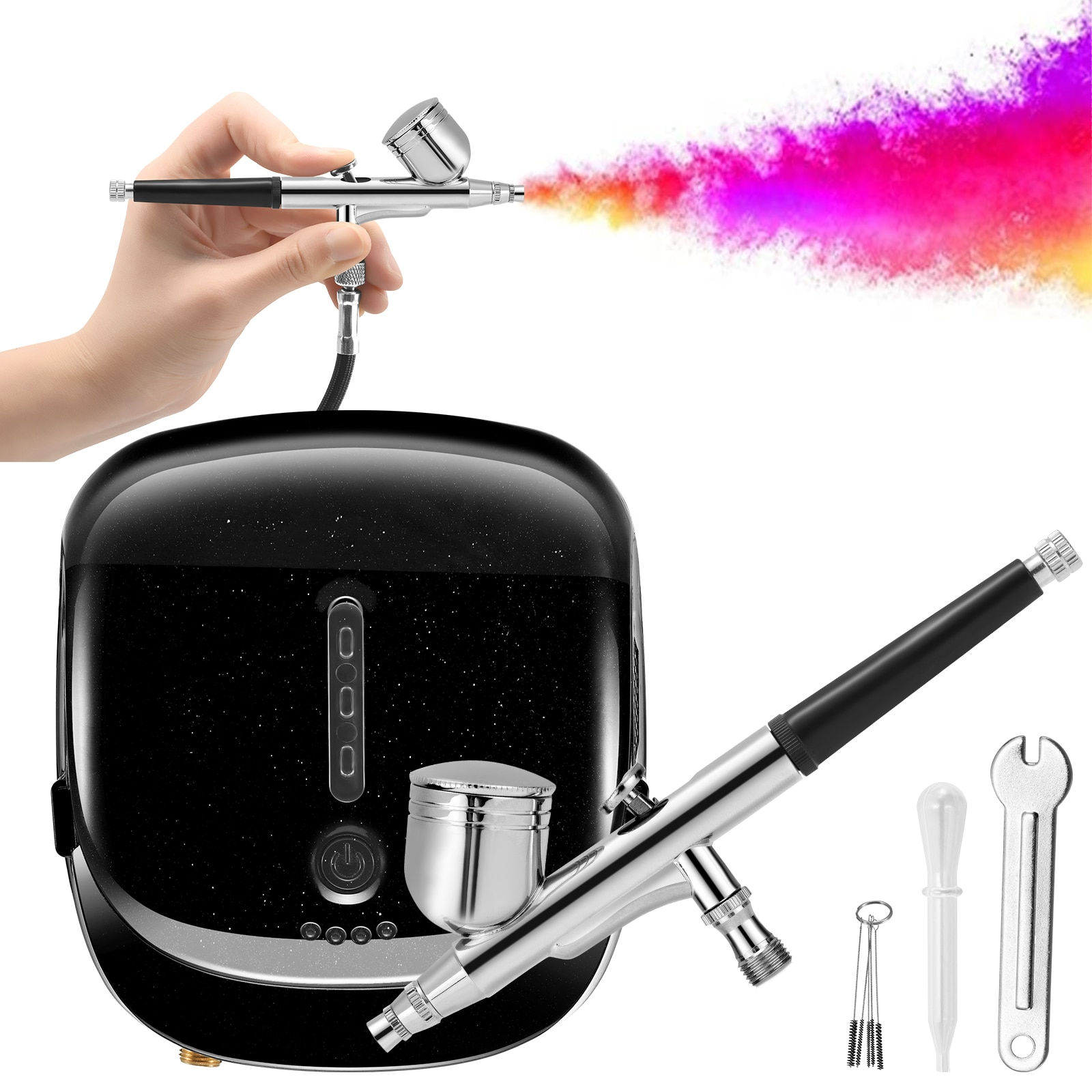 Airbrush Kit Single Power Compressor Portable Touch Machine Air Brush Use For Tattoo Body Paint Tool Acrylic Nail Art EU US Plug