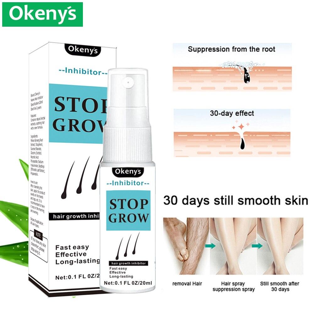 Permanent Haar Entfernung Inhibitor Spray Essenz Schmerzlos Bart Beine Achselhöhle Glatte Reparatur Haut Gesichts Scham Haar Stop Wachstum Spray