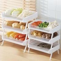 folding collapsible storage crate box plastic fresh keeping caddy shelf kitchen cabinet basket organizer fruit vegetables rack