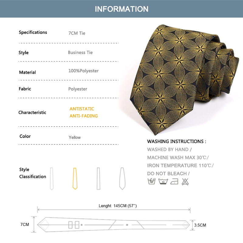 2020 Brand New 7CM Gold Neck Tie Fashion Formal Ties For Men High Quality Gentleman Business Suit Work Necktie With Gift Box