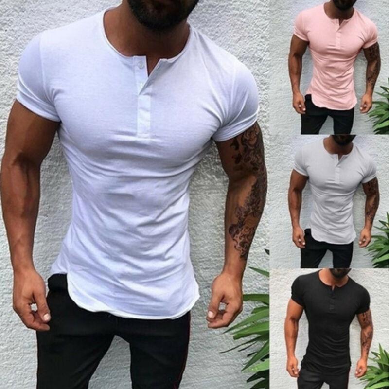Camisetas de manga corta para hombre Slim Fit Solid blusas Tops camisetas...