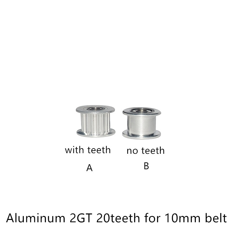 2GT 20 Teeth synchronous Wheel Idler Pulley black Bore 3mm 4mm 5mm with Bearing for GT2 Timing belt Width 10mm 20teeth 20T