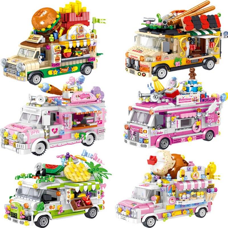 Stadt Serise Freundschaft MINI Rosa Kuchen Cafe Eis Bus Lkw Camper Auto Bausteine Ziegel Sets Kits Klassische Modell freunde