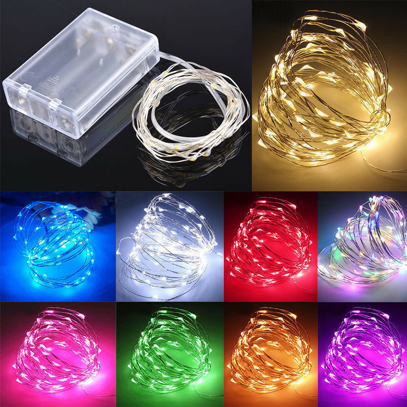 Tira de luces LED de alambre de cobre de 1M, 2M, 3M, 5M, 10M, guirnalda de luces para Navidad, decoración para fiesta de boda