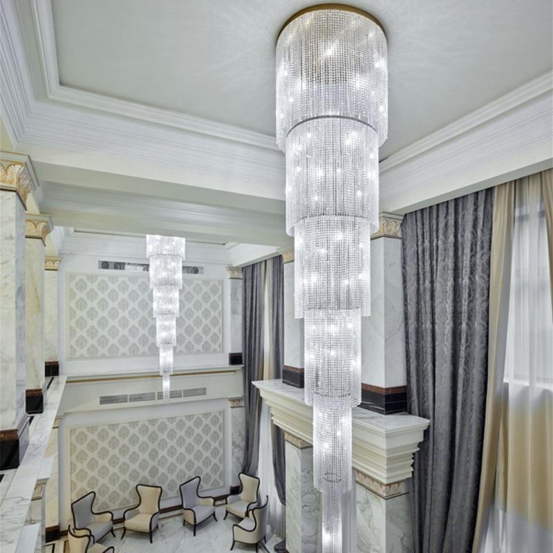 Lámpara de escalera personalizada, araña larga de cristal, moderna, de construcción dúplex, gran candelabro para sala de estar, lámpara de cristal para villa
