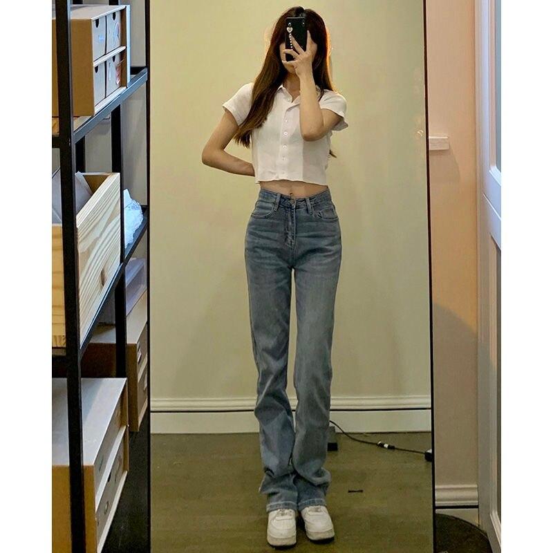 Уличная одежда, джинсы, женские модные Универсальные узкие джинсы с высокой талией, женские прямые брюки-трубы, повседневные брюки