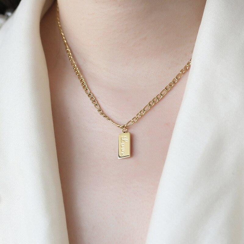 Collar con etiqueta de amor de cadena de titanio de maravilla eterna, joyería de acero inoxidable para mujer, regalo Kpop, Top Ins de diseñador bohemio, raro 7325