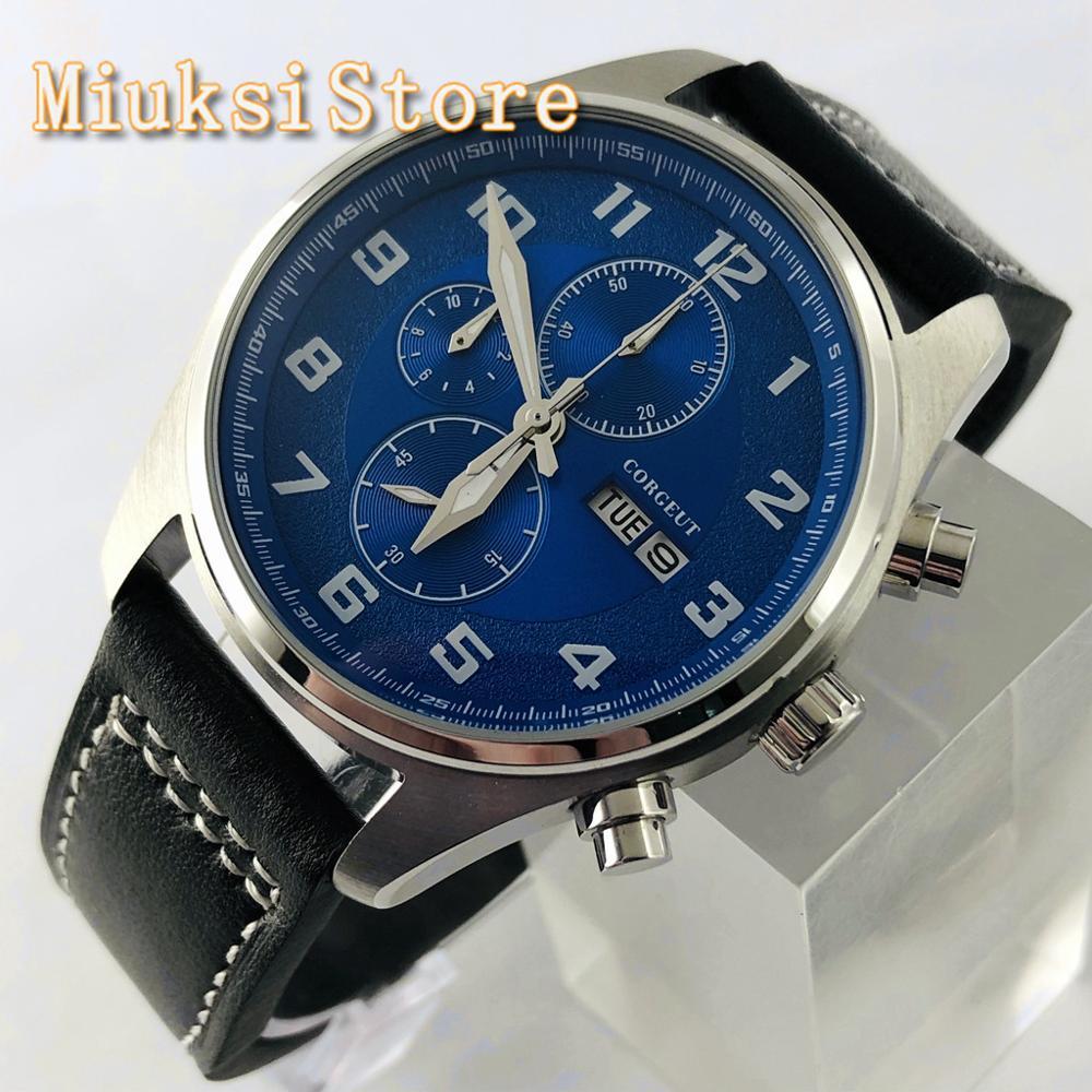 Relógio de Quartzo Pulseira de Couro Relógio de Lazer Corgeut Multifunções Masculino Case Prata Azul Dial Data Topo 41mm