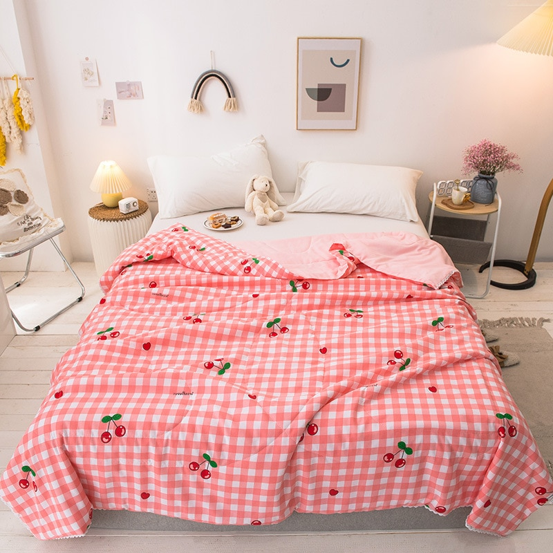 الأزهار طباعة القطن الصيف حاف لحاف سوبر لينة مبطن السرير رمي غطاء بطانية قابل للغسل الفراش خليط المعزي المفرش