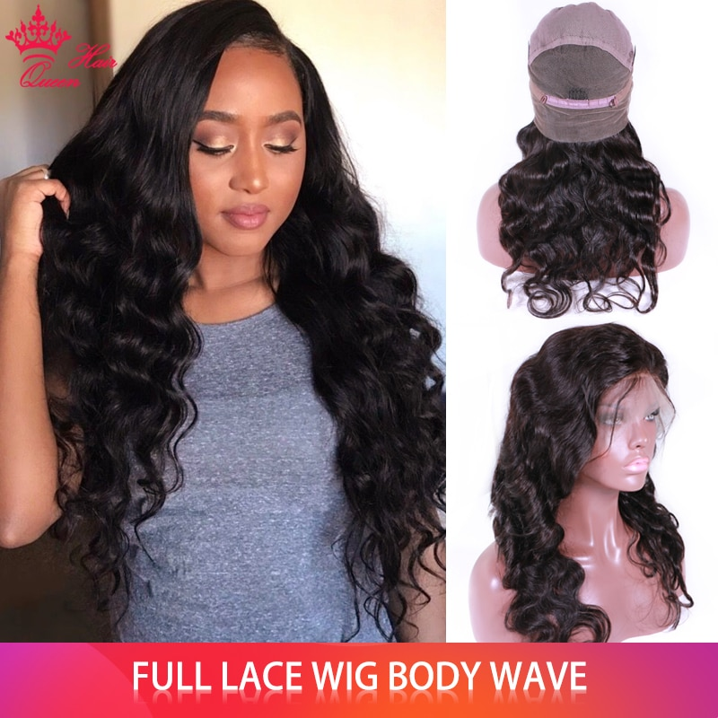 Queen Hair Official Store Human Hair Full Lace Wig 100% Brazilian Human Remy Hair Body Wave Glueless Wigs FAST SHIPPING