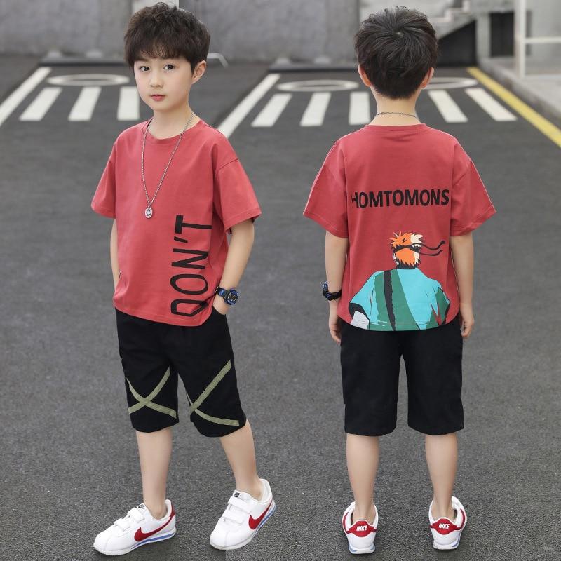BINHBET 2PCS Children's Outfit Sets Boys O-Neck T-Shirt and Shorts Summer Casual Cartoon Fish Print Kids Boy Cotton Clothes