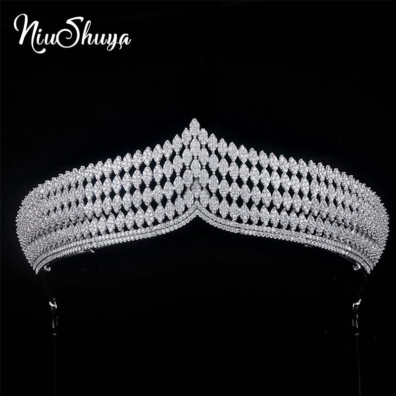 NiuShuya Vintage Cubic Zircon Wedding Tiara Noiva Crowns for Brides Hair Accessories Luxury Party Evening Dress Hair Jewelry