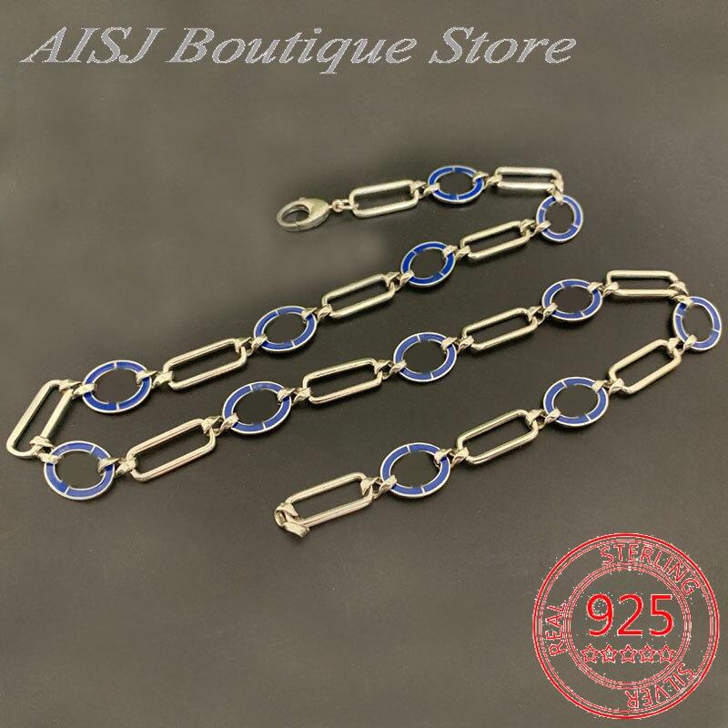 Gg قلادة جديد ماركة فاخرة 1:1 نسخة Ag925 فضة الأزرق المينا المتشابكة قلادة السيدات ريترو الهيب هوب مجوهرات هدية