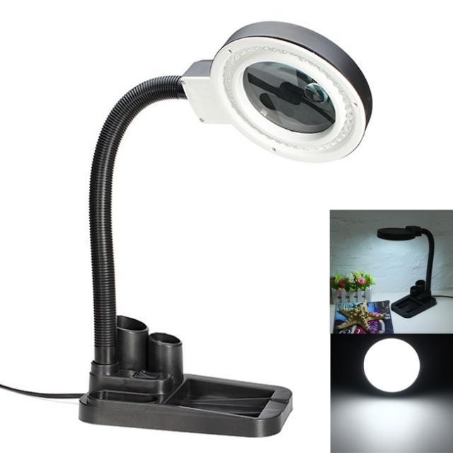 Многофункциональная Настольная лампа с увеличительным стеклом, 40 светодиодных настольных ламп с лупой 5X и 10X и держателем для хранения руче...