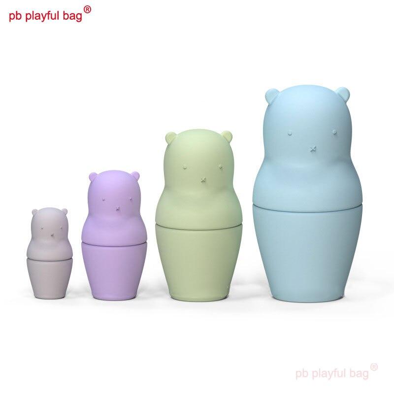 PB لعوب حقيبة لطيف الدب شكل الروسية التعشيش الدمى سيليكون عضاضة المواد الغذائية ألعاب تعليمية للأطفال HG166