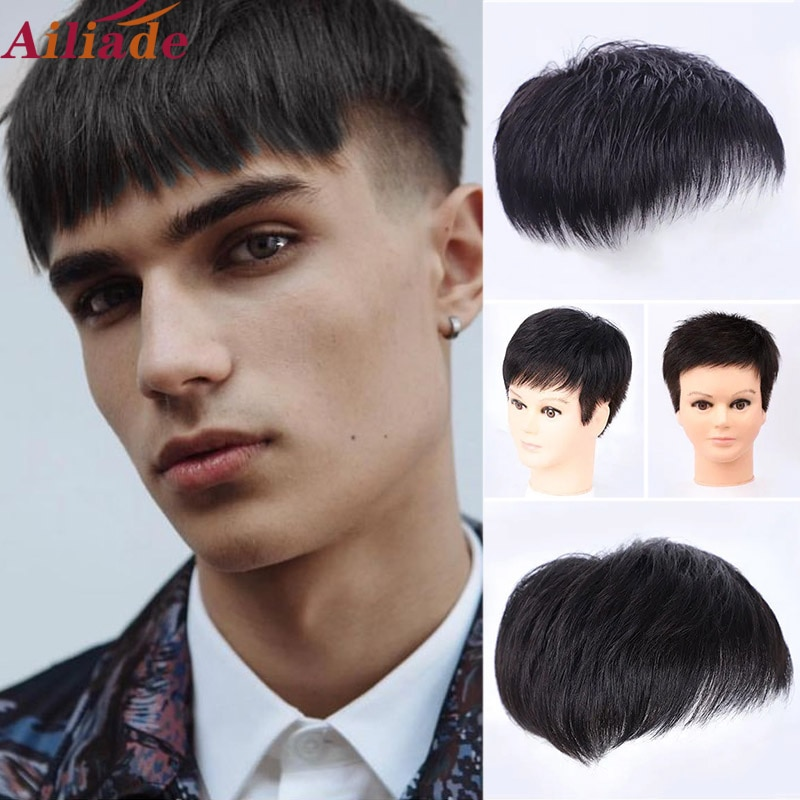 Men's Toupee Machine made wig Natural Straight hair Hair Pieces Men Wig Hairpiece Replacement Systems Glueless Top Topper