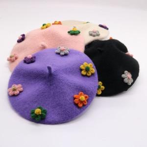 Family Mother Daughter Winter Wool Beret Hat Warm Cap Elegant Flower Women & Kids Girls Hats and Caps Painter Cap czapka zimowa