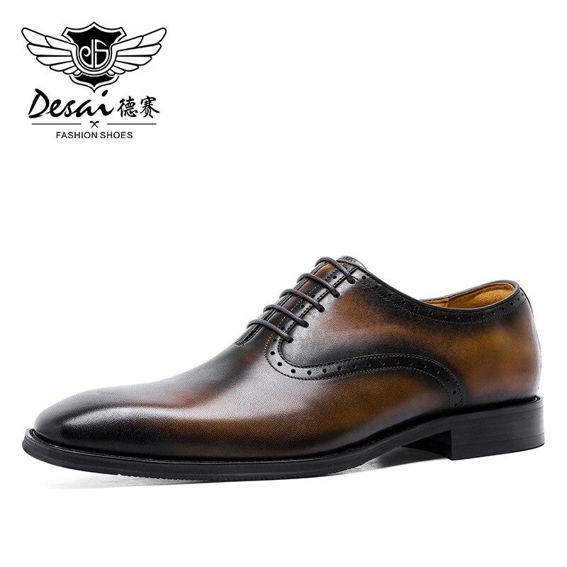 DESAI-حذاء جلد طبيعي للرجال ، حذاء كاجوال مسامي بأربطة من جلد الغزال للحفلات وحفلات الزفاف والربيع ، أكسفورد ، 2020
