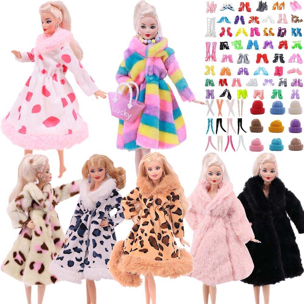 Barbies Vestido 2 unids/set (envío gratis) = 1 abrigo de peluche +...