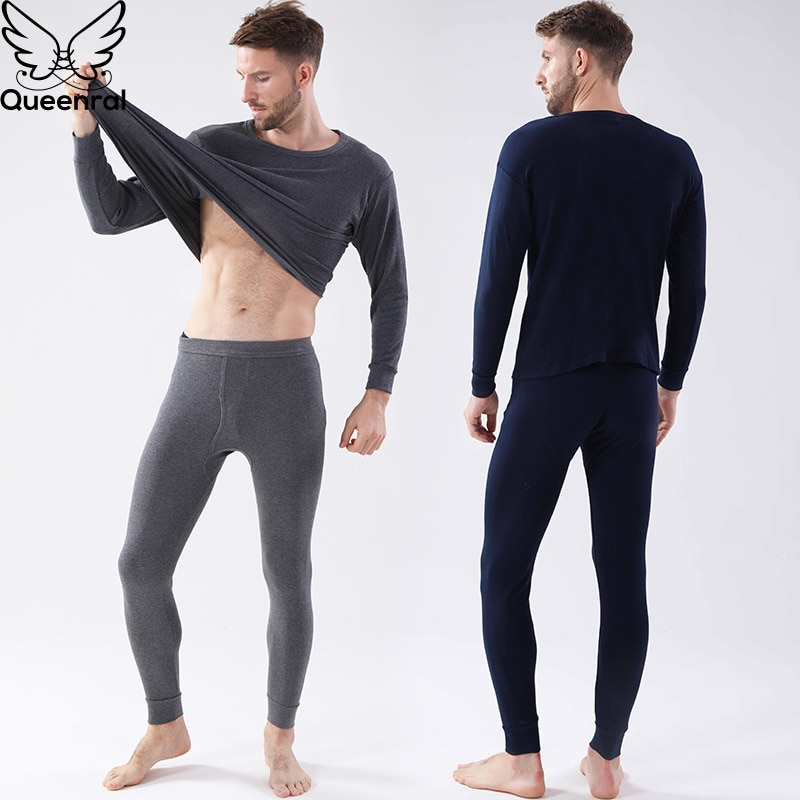 Queenral, ropa interior térmica para hombres, conjuntos de Calzoncillos largos, lencería térmica, ropa interior de invierno caliente para hombres, de algodón