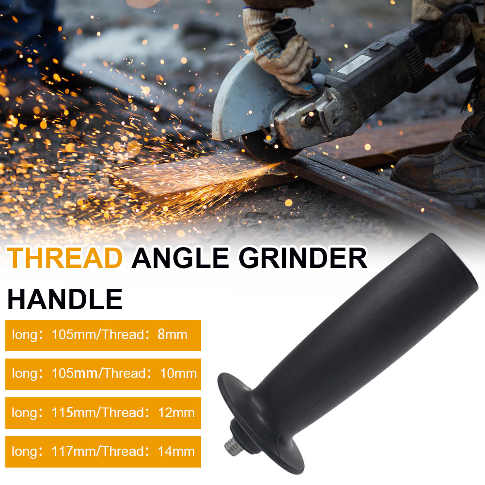 M8/M10/M12/M14 8mm/10mm/12mm/14mm Angle Grinder Handle Plastic Thread Auxiliary Side Handle for Angle Grinder Black