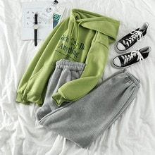 Hiver printemps épaississement pantalon ensemble femmes lettre imprimé sweat à capuche + élastique décontracté Sport pantalon Style coréen correspondant ensemble