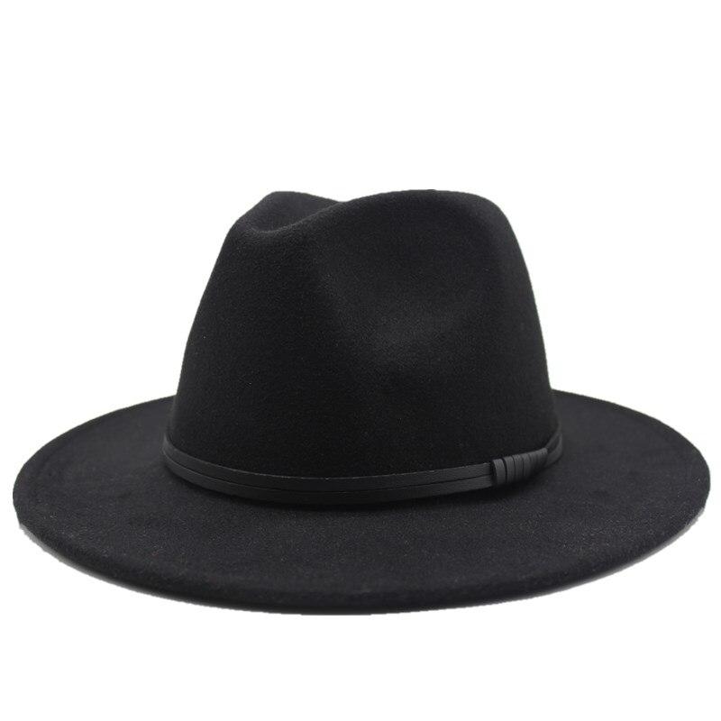 Шляпа Seioum из черной шерсти фетровая джазовая Федора декоративная пряжка для