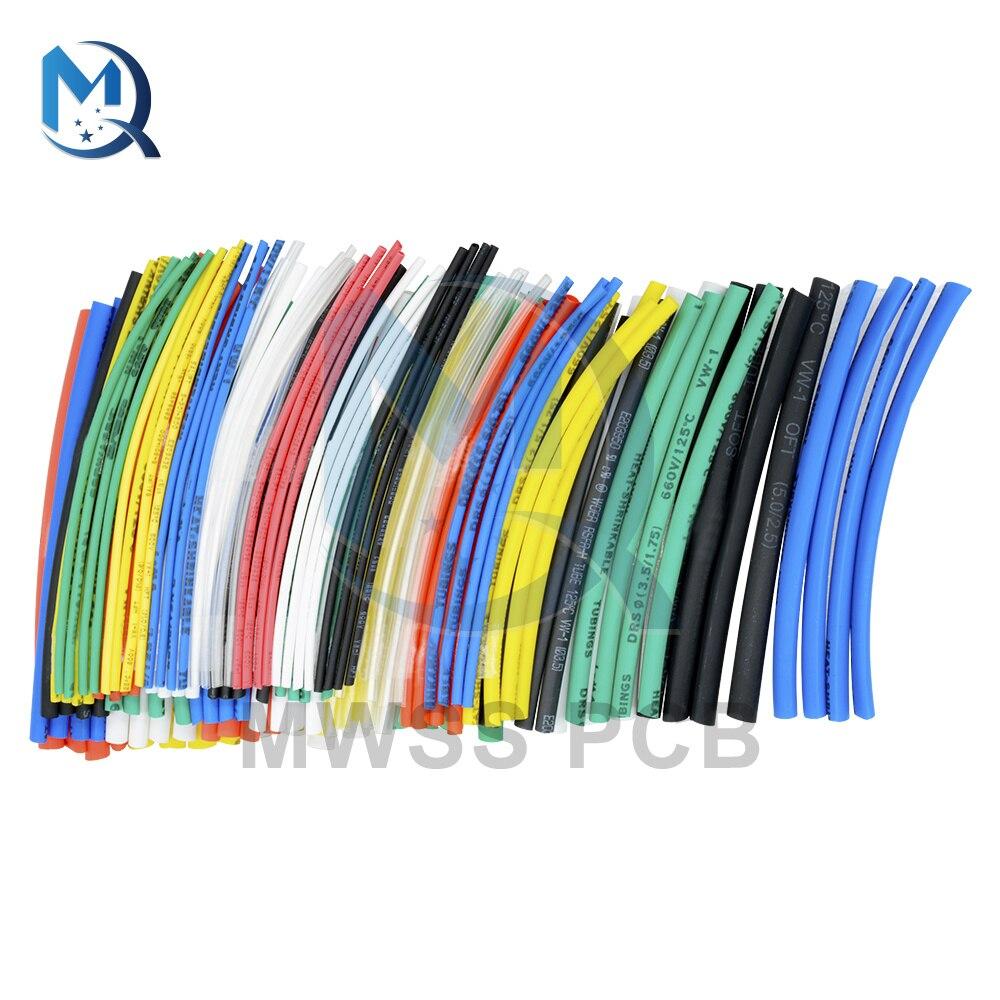 Термоусадочные трубки, 140 шт., изоляционные автомобильные электрические кабели для оборачивающихся втулок, 5 размеров, 7 цветов, полиолефино...