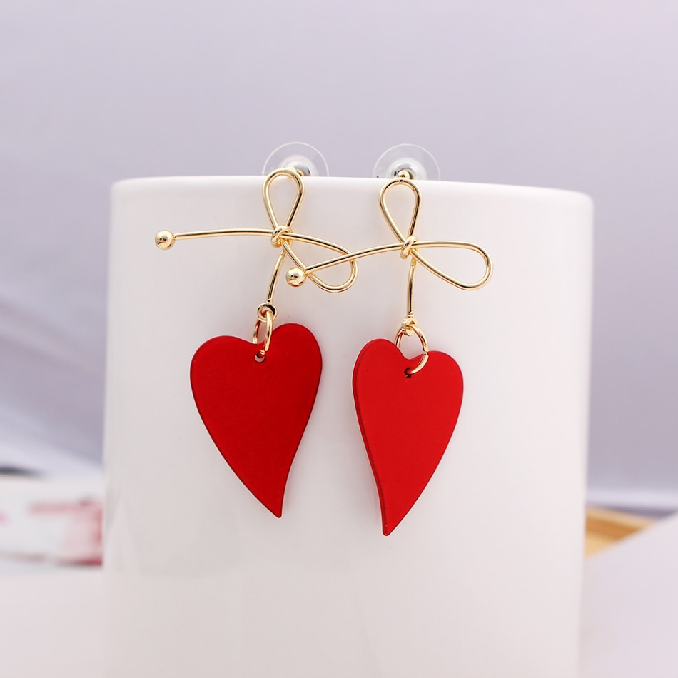 Fashion Gold Color Heart Geometric Drop Earring for Women Brincos Vintage Red Green Yellow Earring 2020 Irregular Korean Jewelry hot fashion brincos vintage long square crystal earring big geometric stud earrings for women classic gold color fine jewelry