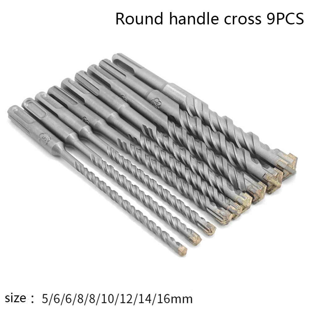 9pcs Cross Electric Hammer SDS Plus Drill Bit Set 160mm For Concrete Wall Brick Block Masonry Hole Saw Drilling Bits 5mm 6mm 8mm