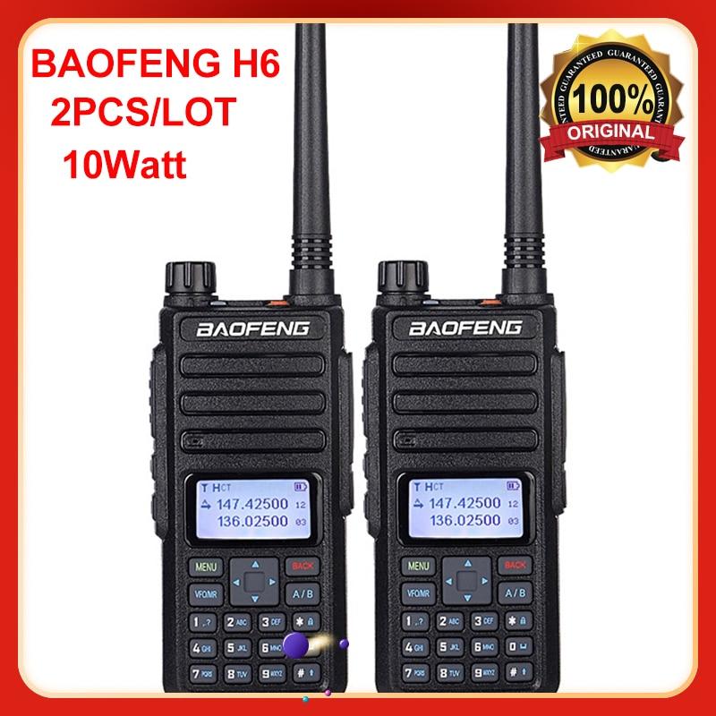 2 قطعة/الوحدة BF-H6 الإرسال والاستقبال 2021 جديد BaoFeng قوية لاسلكي تخاطب جهاز الإرسال والاستقبال 10 واط 50 كجم طويلة المدى المحمولة اتجاهين الراديو