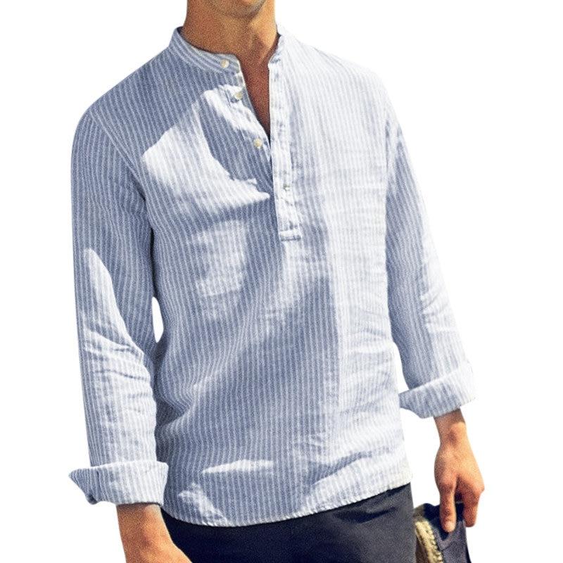 Мужская рубашка с длинным рукавом, на весну и лето, повседневная мужская рубашка, Хлопковая полосатая приталенная рубашка с длинным рукавом...