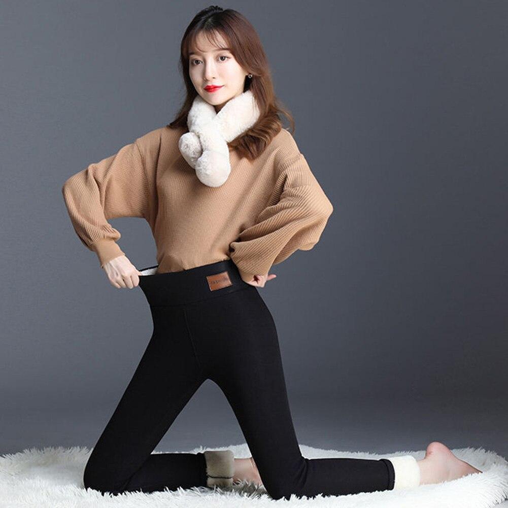 Extra Dicke Lammfell Leggings Frauen 95 Baumwolle Hohe Taille Stretch Hosen Winter Tragen Kalt Warm Hosen Baumwolle Hosen