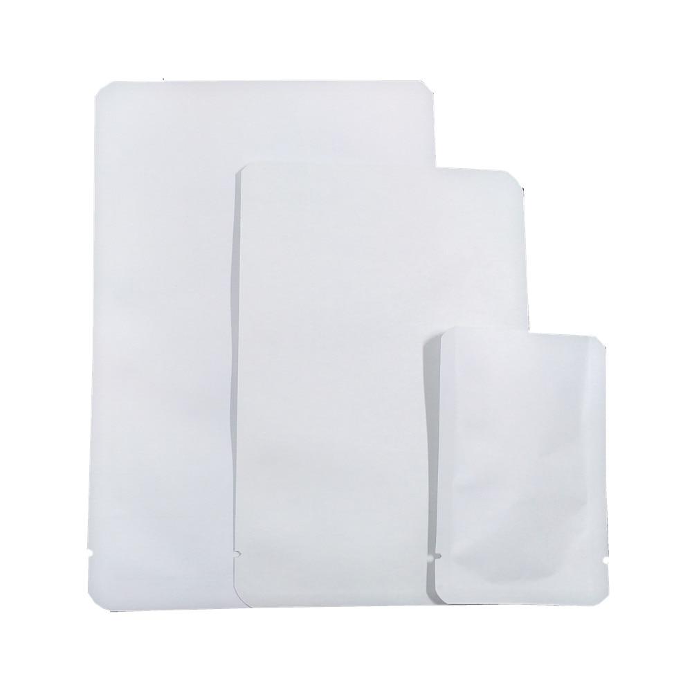 Venta al por mayor bolsas de papel Kraft blanco apertura superior termosellable bolsa de vacío conservación de alimentos snacks bolsa interior Mylar con esquina redonda