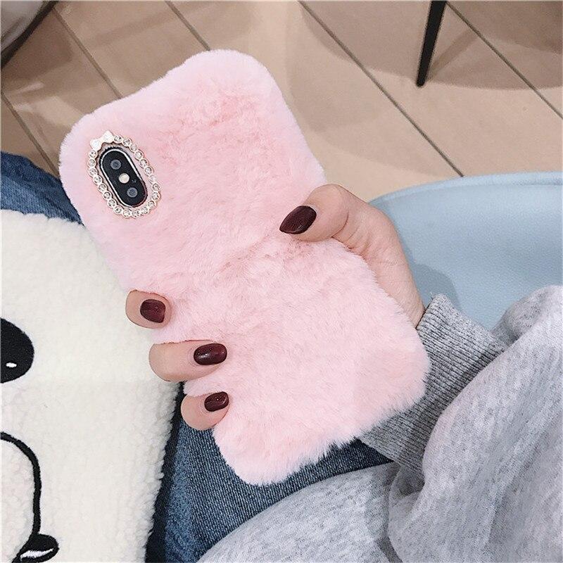 Funda bonita de piel de conejo de felpa con diamantes para Huawei Honor 10i 20i 9X View 10 20 Play Y6 Y7 Pro Y9 Prime 2019 2018 Nova 5 4 fundas